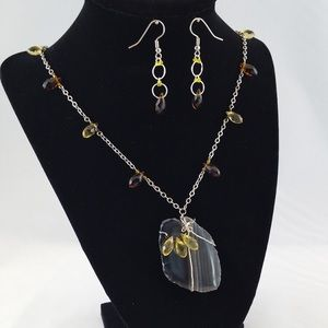 Jewelry - Wire Wrapped Agate Necklace with Crystal Earrings